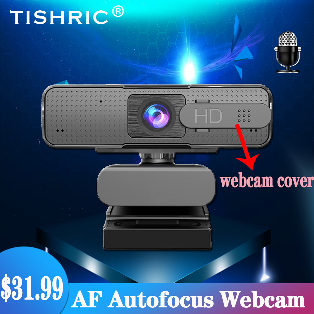 TISHRIC Web Camera Full Hd Webcam 1080p Autofocus With Webcam Cover USB 2.0 Web Camera With Microphone For PC Laptop Video Call
