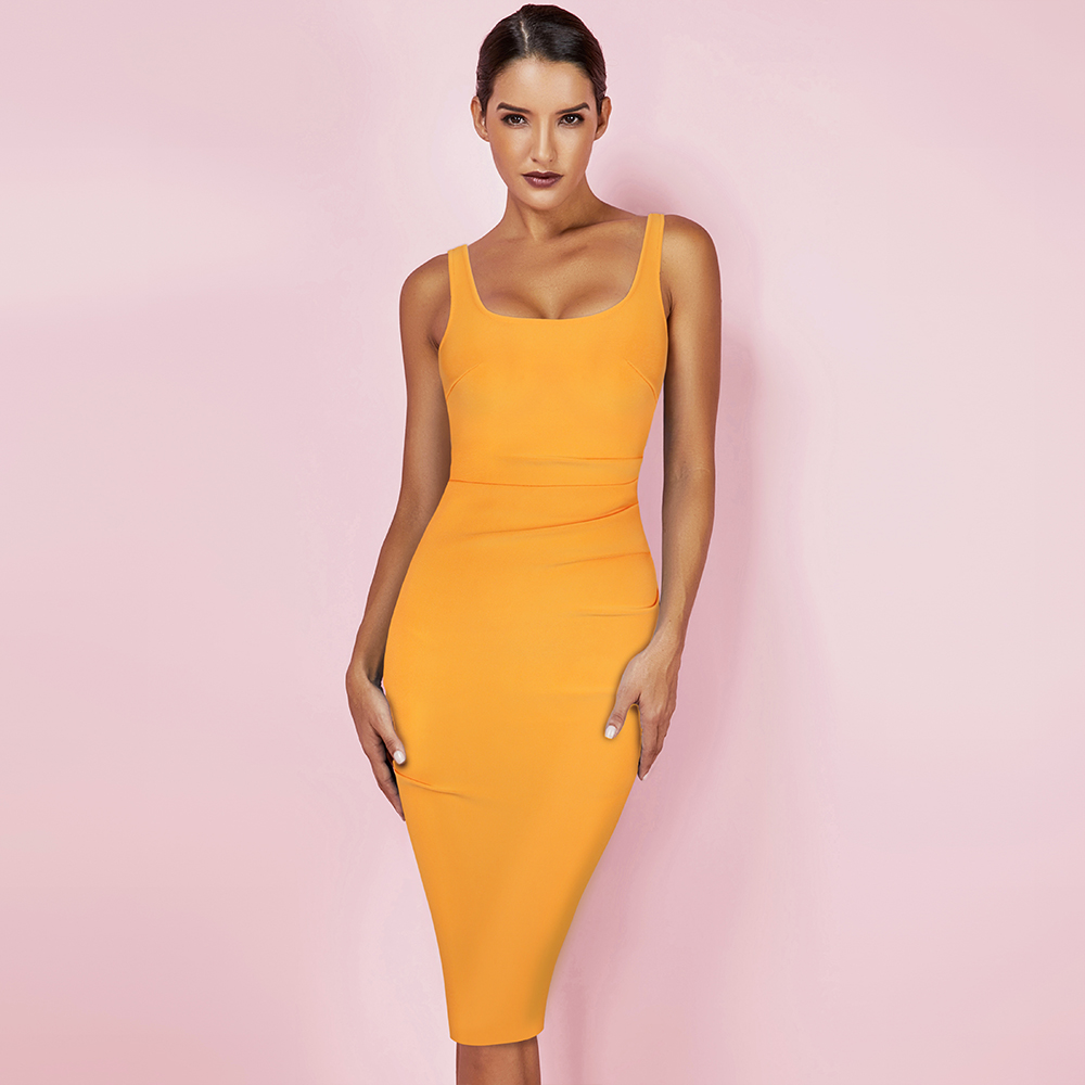New Kendall Jenner Celebrity Bandage Dress Women Draped Orange Midi Bandage Dress Bodycon Sexy Evening Party Dress