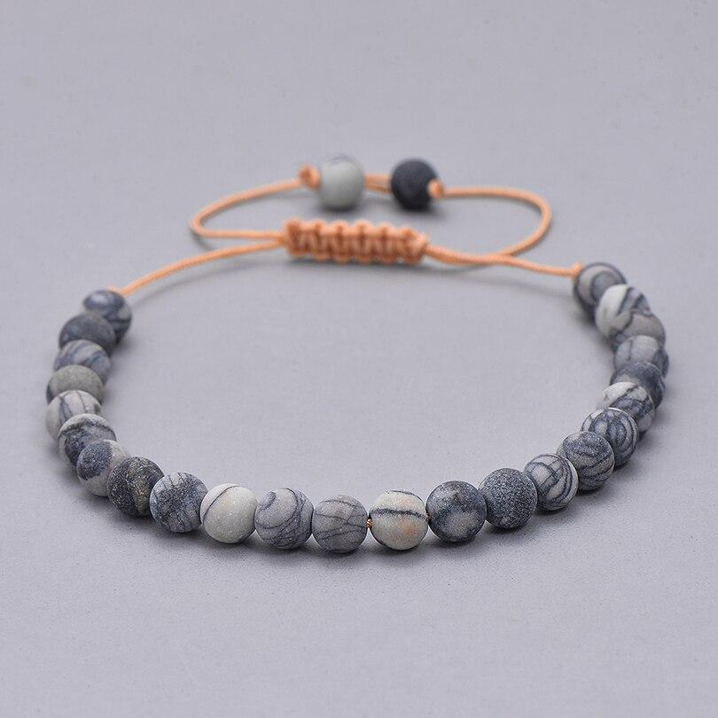 Этнические смолы кристалл каменный шарик браслет для мужчин женщин Мода Черная струна Плетеный Пара Браслеты Шарм ювелирные изделия - Окраска металла: 6