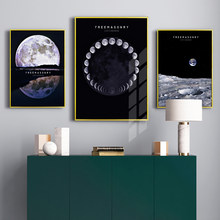Nordic Maan Aarde Canvas Poster Black En White Wall Art Print Schilderij Decoratieve Foto 'S Voor Woonkamer Moden Home Decor(China)