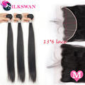Silkswan Remy Hair Straight Middle Ratio Bundles With 13x6 Transparent Lace Frontal 30-40 Inch Hair Extension Weft For Women