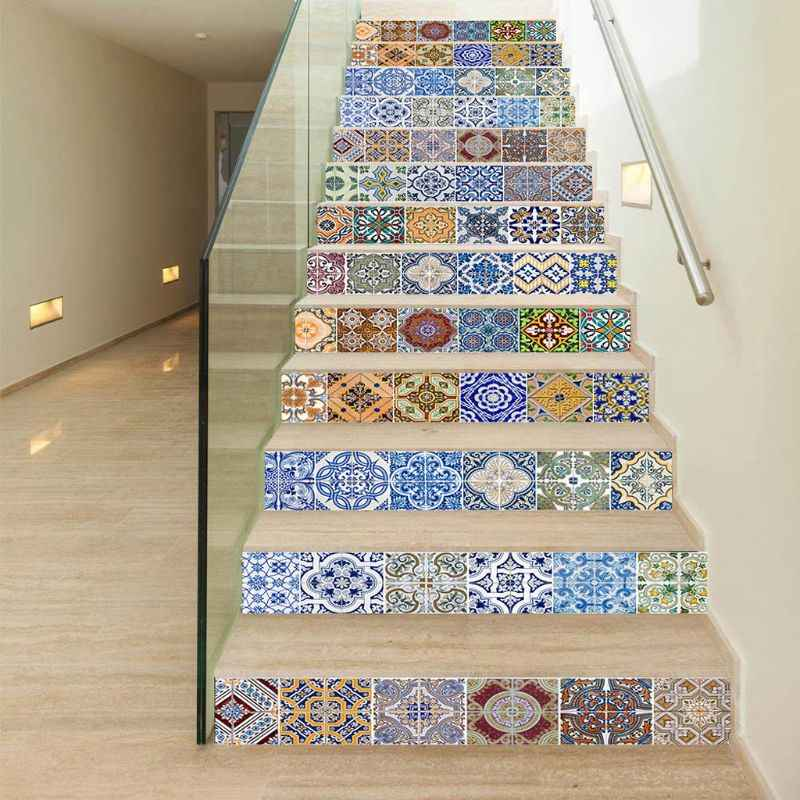 13Pcs 3D Staircase Stair Riser Floor Stickers DIY Wall Decals 18x100cm Removable