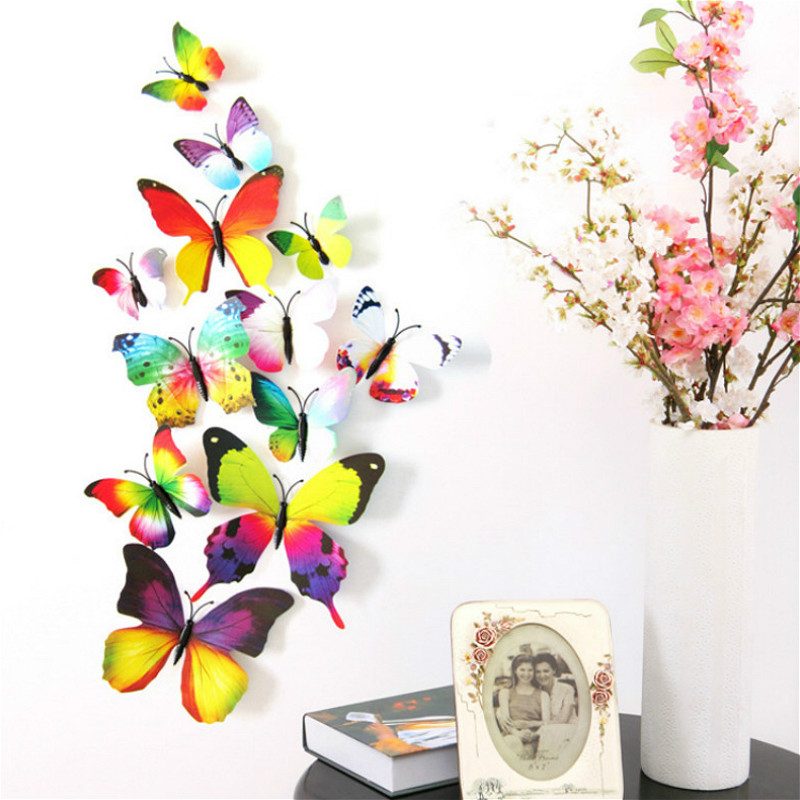 12pcs/lot Kawaii Butterfly Fridge Magnets 3D Butterfly Design Art Stickers Room Magnetic Home Decor DIY Wall Decoration(China)