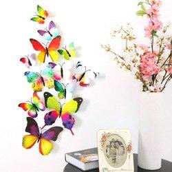 12 sztuk/partia Kawaii Butterfly magnesy na lodówkę 3D Butterfly Design Art naklejki pokój magnetyczny Home Decor DIY dekoracje ścienne