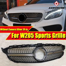 W205 Diamond Front Grille Without Camera For C-Class C180 C200 C250 C350 C400 C63AMG ABS Silver Sign 2019+