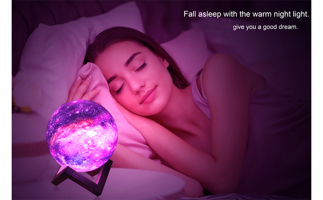 ZK20 3D Printing Moon Lamp Galaxy Moon Light Kids Night Light 16 Color Change Touch and Remote Control Galaxy Light as  Gifts 6