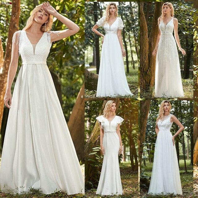 Simples vestido de casamento branco boho sempre muito elegante a linha com decote em v chiffon manga longa robe sexy vestido de noiva para ser 2021 5