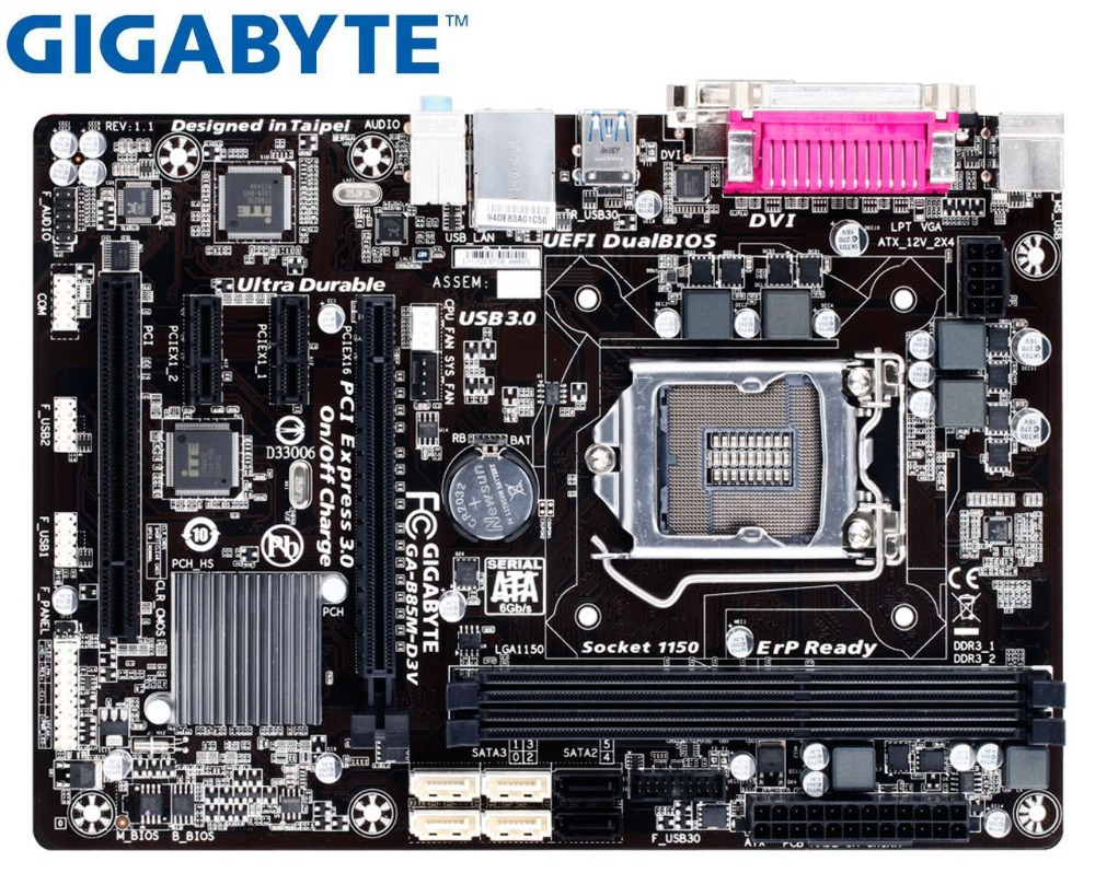 Gigabyte LGA Desktop Motherboard DDR3 B85 GA-B85M-D3V 1150 USB3.0 Used 16GB Original title=