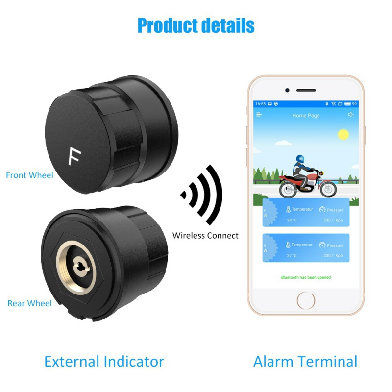 2019Bluetooth Motorcycle Tire Pressure Monitoring System TPMS Phone APP Detection External Sensor