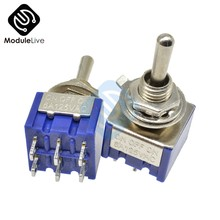 MTS-203 6mm Toggle Switch Single Pole Double Throw SPDT ON-ON 120VAC 6A 1/4 Inch Mounting 13*12.7MM 3Positions 6Pins(China)