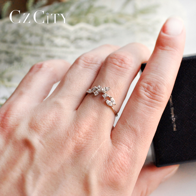 CZCITY Korean 925 Sterling Silver Handmade Olive Leaf Rings for Women Exquisite CZ Stone Adjustable Open Ring Silver 925 Jewelry 2