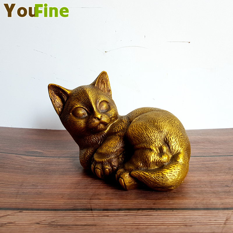 Chinese Classical Pure Copper Bronze Lucky Cat Animal Sculpture Small Piece Desktop Home Decoration Hot Sale