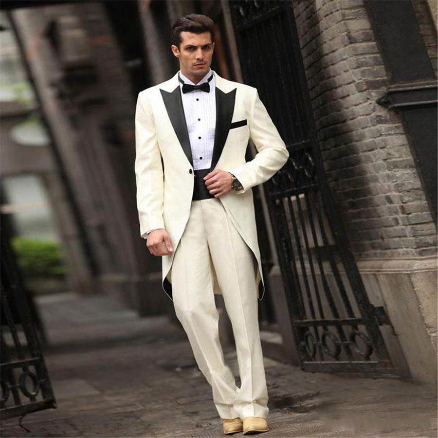 Retro Long Tailcoat Groom's Wedding Tuxedos Peaked Lapel Men Formal Party Suit Swallowtail Groomsman Suits (Jacket+Pants)