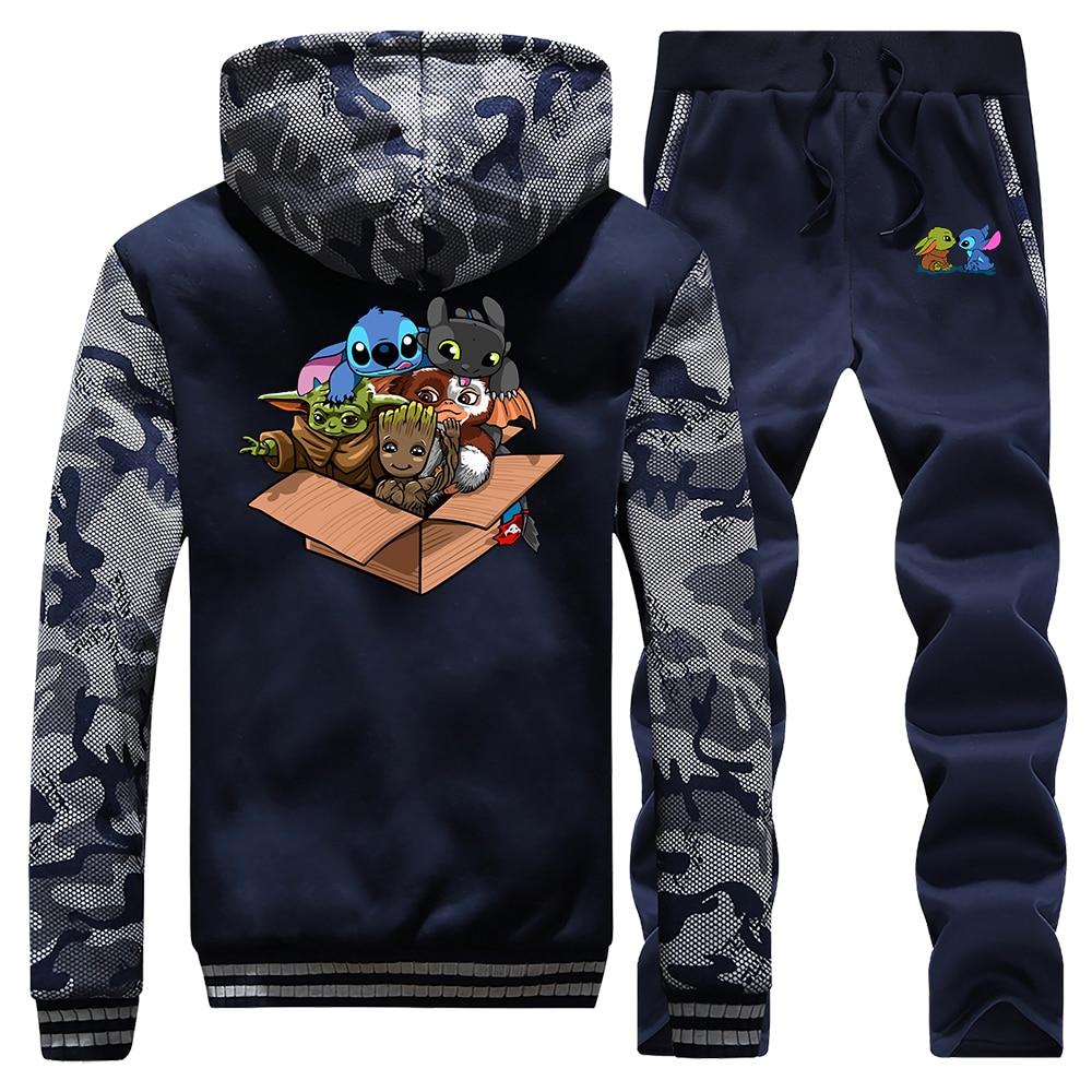 Kawaii Full Team Tracksuit Thick Fleece Baby Yoda Stitch Groot Suit 2020 Spring Hoodie The Mandalorian Hoodie Sweatshirt + Pants