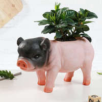 LORONZ Cute Pig Shape Flower Pot Succulent Planter Plant Pot Animal Style Resin Vase Container,10.24 L x 5.91H, Black And Pink