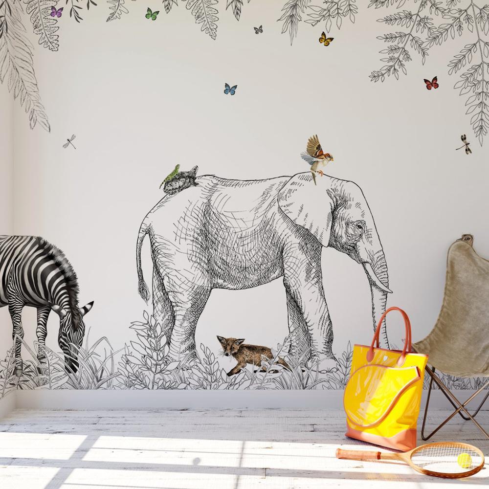 Papier Peint Panoramique Animaux - Metrozoo JUNGLE ANIMALS FOREST WALLPAPER PW200215002