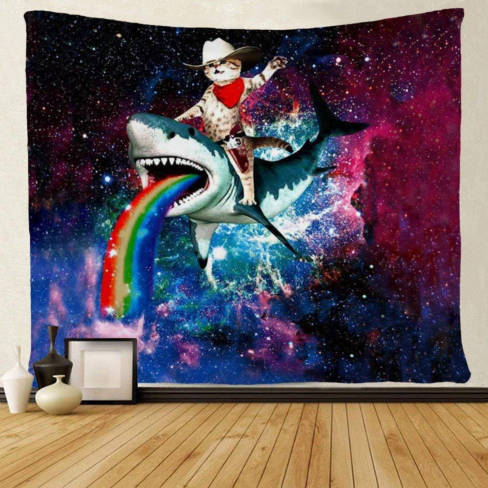 Funny Animal Cat Ride Shark Rainbow In Galaxy Tapestries