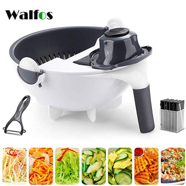 WALFOS Magic Multifunctional Rotate Vegetable Cutter With Drain Basket Kitchen Veggie Fruit Shredder Grater Slicer Drop Shipping 1