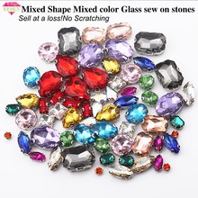 RESEN Sell at a loss!64pcs/lot Mixed Shape Mix Colors Glass Sew On Claw Rhinestones For DIY Crystal Sewing Clothing Accessories resen 6mm mix fancy opal colors resin sew on rhinestones with gold claw pink blue green white opal sewing rhinestones diy dress