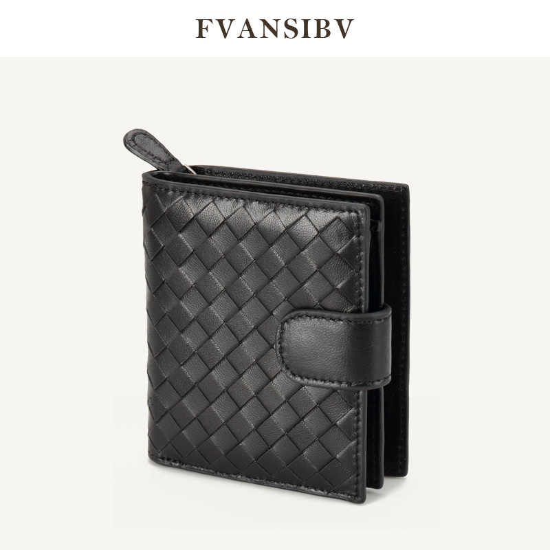 Women's Wallet Short 100% Sheepskin Leather Woven Coin Change Zipper Storage Bag Fashion Simple Luxury Brand MoneyClip2020 New