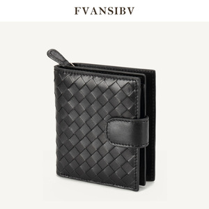 Image 1 - 女性の財布ショート 100% シープスキン革織コイン変化ジッパー収納袋ファッションシンプルな高級ブランドMoneyClip2020 新