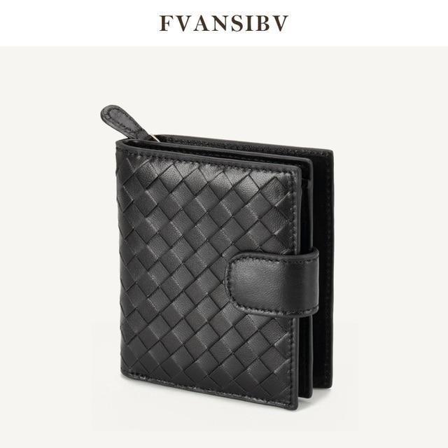 女性の財布ショート 100% シープスキン革織コイン変化ジッパー収納袋ファッションシンプルな高級ブランドMoneyClip2020 新