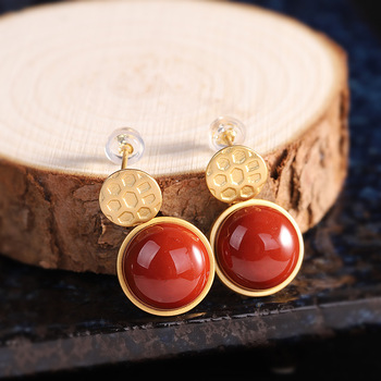 silver fashion earrings wholesale S925 pure silver gold-plated jewelry women's South Red earrings earrings direct sales