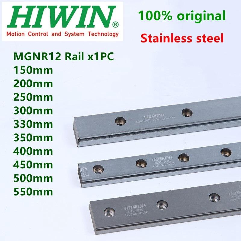 HIWIN สแตนเลส MGN12 Linear ท่องเที่ยว MGNR12C Rail 12mm Linear guideway 200 250 300 330 350 400 500 550 มม.ความยาวที่กำหนดเอง