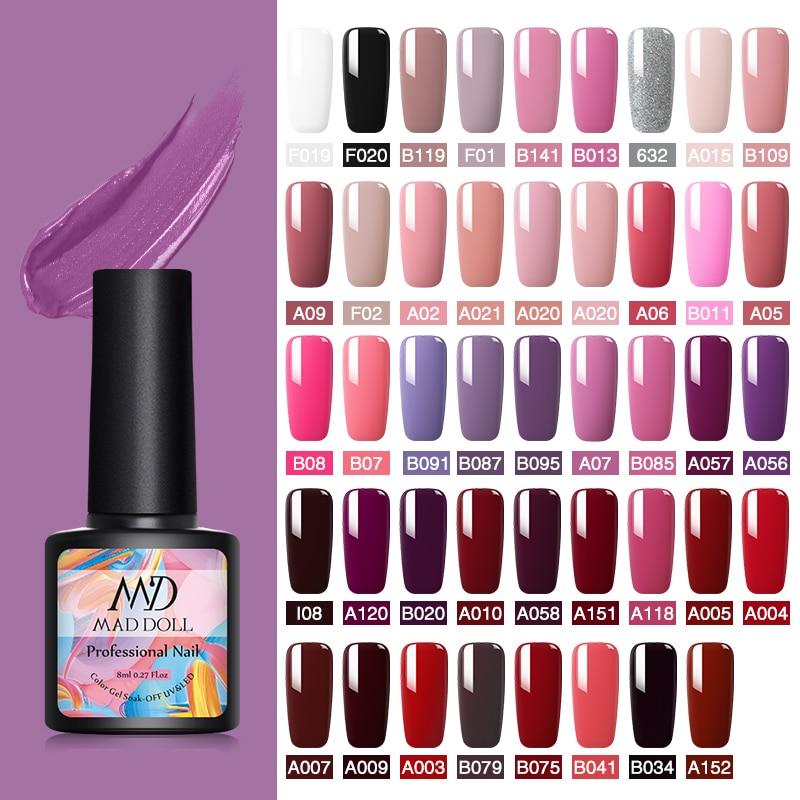 MAD DOLL 8ml Gel Nail Polish Colorful Series Purple Red Pink Soak Off Gel Polish UV Gel Varnish Long-Lasting One-shot Color Gel