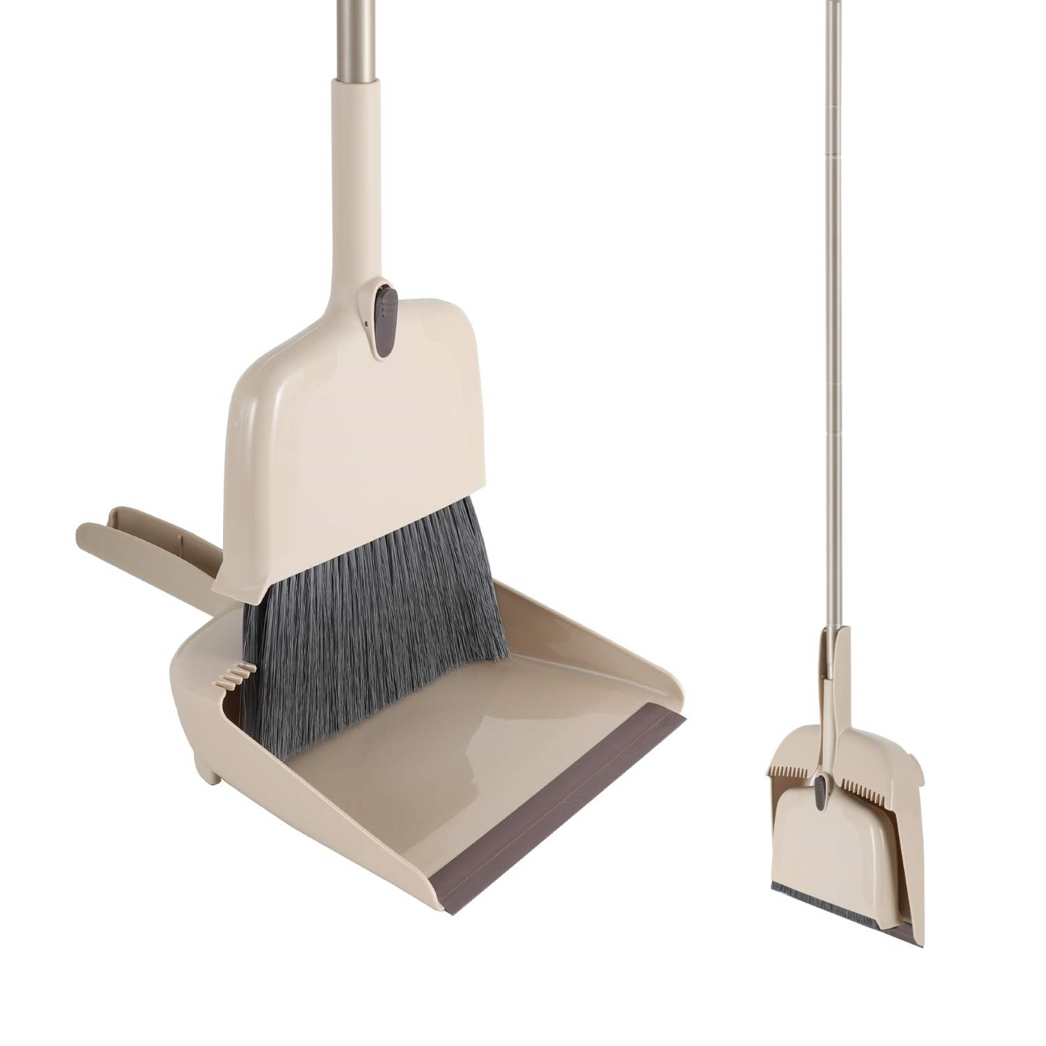 Eyliden Angle Broom and Dustpan Set with Long Handle and Telescopic Bristle 54in Without Bending Suit for Kitchen and Home