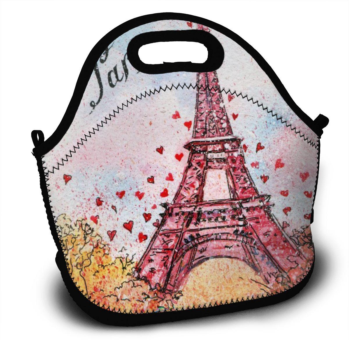 Bolsa de Armazenamento Portátil Isolado Térmica Bento Lancheira Vintage Aquarela Paris França Torre Eiffel Piquenique Bolsa Almoço Bolsas