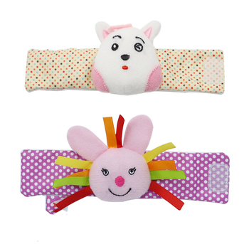 New Cute Soft Animal Infant Baby Rattles Toys Children Plush Wrist Toy Hand Rattle Cotton Strap Wholesale