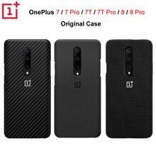 מקורי רשמי OnePlus 7 7 פרו 7T 7T פרו OnePlus 8 8 פרו מקרה Karbon פחמן אבן חול ניילון פגוש מקרה כיסוי אחורי פגז