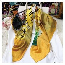 12MM 100% Echte Seide Schal Gustav Klimt Ölgemälde Quadrat Schals und Wraps Luxus Der Kuss Drucken Bandana Foulard 90cm * 90cm