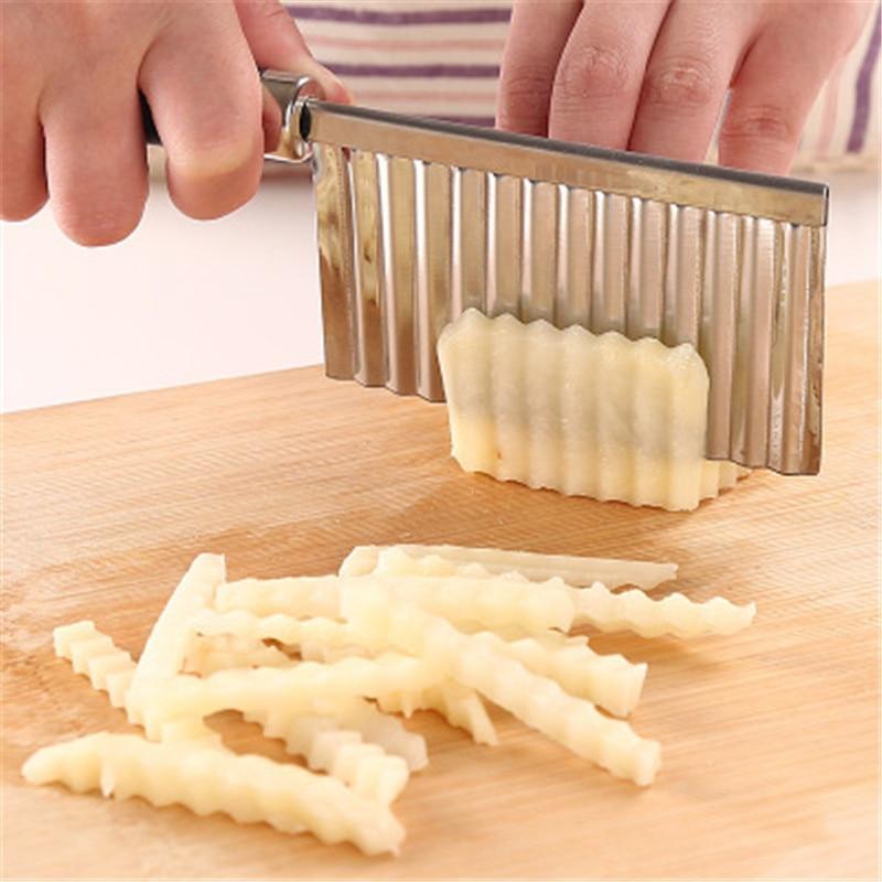 Stainless Steel Machete Potato Knife Wave Knife Household Multi-functional Vegetable Cutter Potato Slicer Chip Cutter