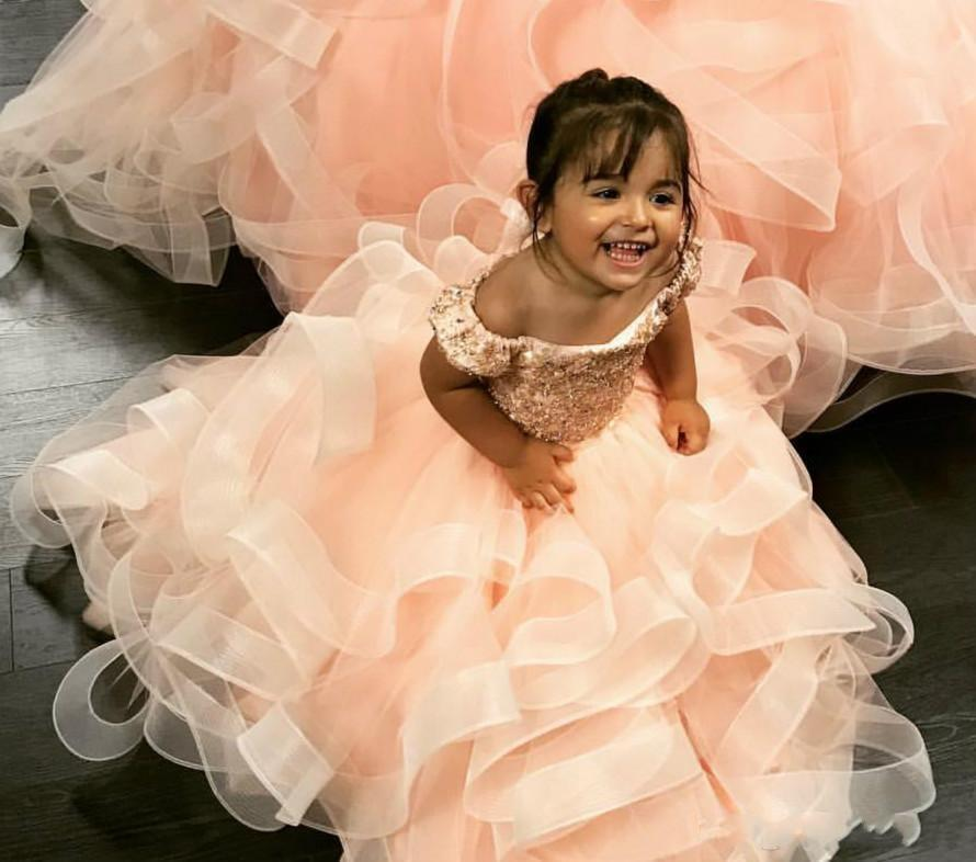 Orange Sweety Ball Gown Girls Pageant Dresses Ruffles Beaded Crystal Lace Applique Flower Girl Dress Kids Birthday Dress