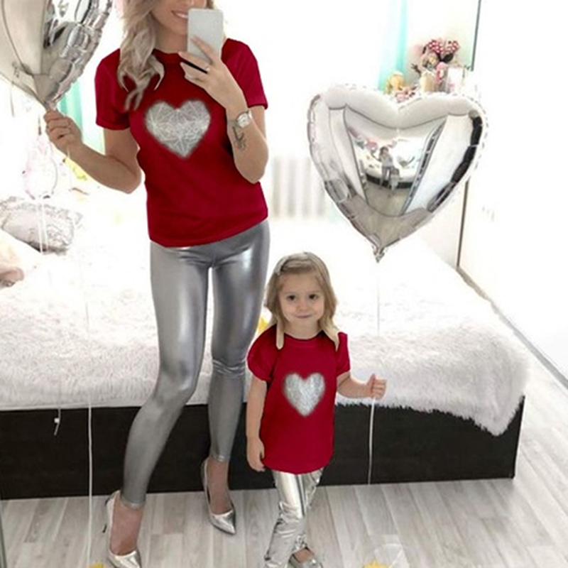 Love Heartbeat Cotton Family Matching Clothes Outfits Mother And Daughter T-Shirt Summer Bestfriend Baby Bodysuit Mama Tshirt