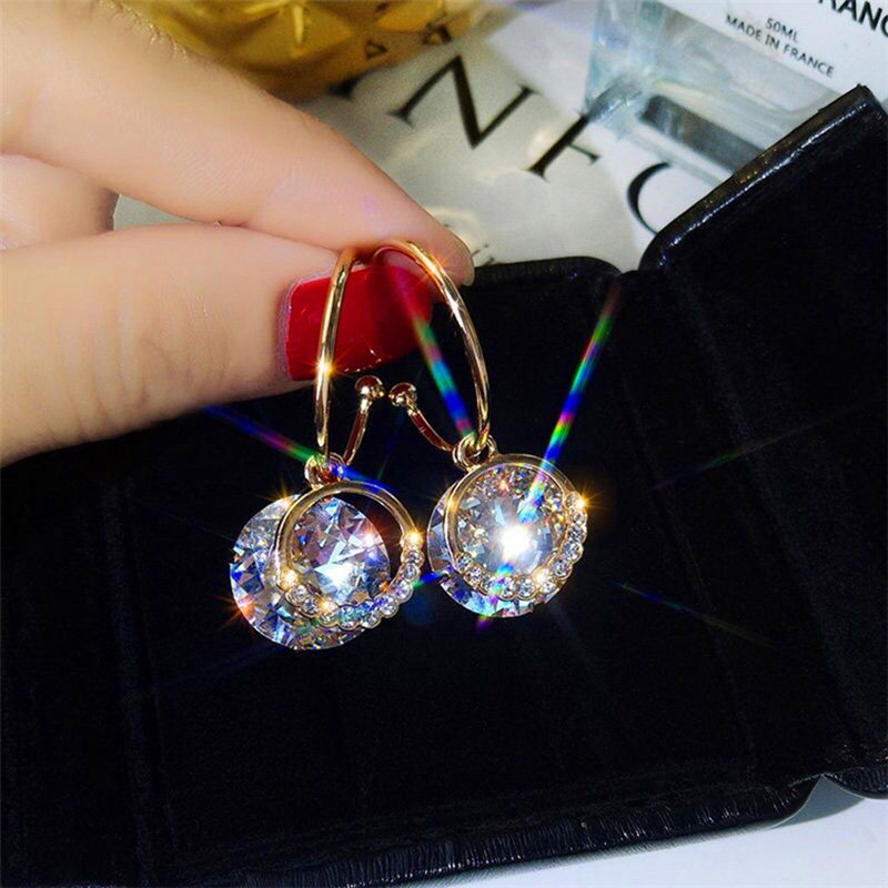 Fashion Jewelry Super Flash Earrings Female Temperament Personality Wild Earrings New Korean Fashion Earrings Wedding Gift
