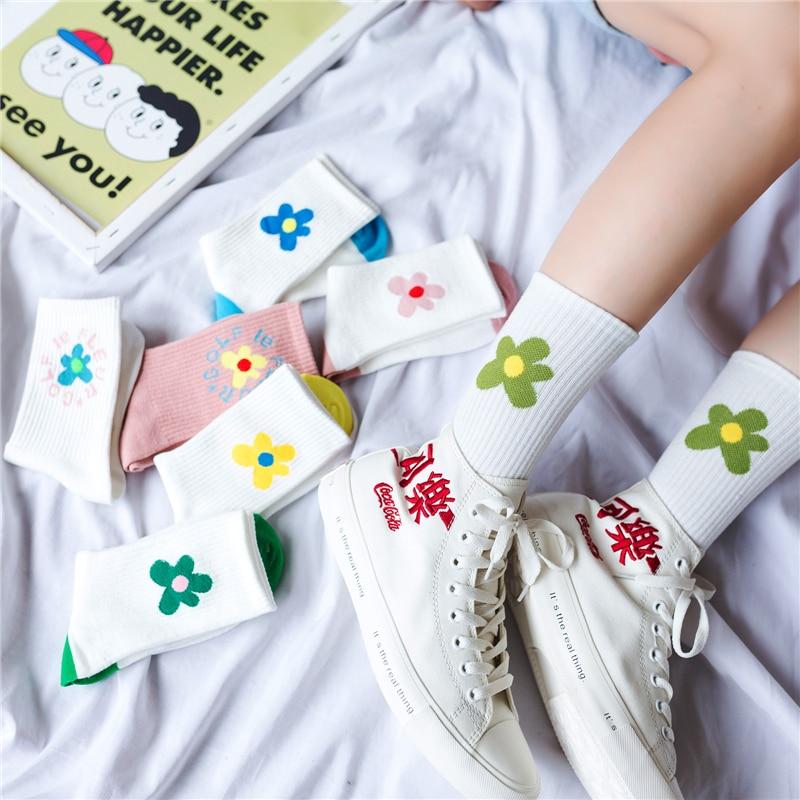 Casual Candy Color Flower Printed Slouch Socks Women Fresh Crew Socks Target White Socks Sale Japanese Girls Winter Wigwam Socks