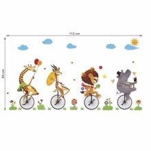 Cartoon Animal Portrait Wall Sticker For Kids Rooms Baby Room Bedroom Home Decor Living