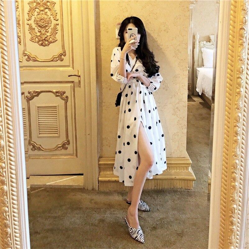 2019 Spring Long Sleeves  Chiffon Dress Korean Fashion Pleated Floral Print Vintage