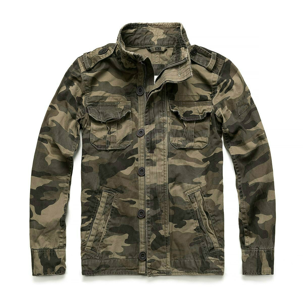 Denim Jacket Men Stand Collar Camo Jacket Boys Casual Wear Overalls Men Military Winter Thick Overall Camouflage Coat Male Tops