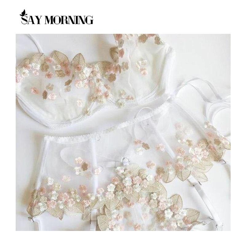 Demek sabah dantel işlemeli çiçek sütyen ve külot seti kadın dantel iç çamaşırı görmek balenli sütyen külot Mesh jartiyer seti