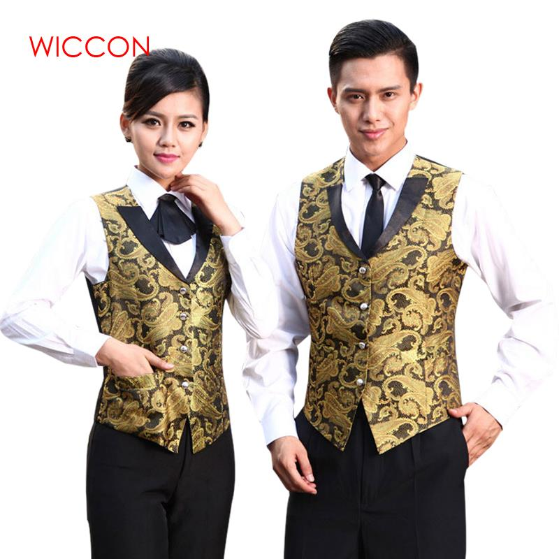 Women Men Night Club Waitress Vest Uniform Bright Color Bar Waiter Vest Clothing Hotel Restaurant Work Wear Waiter Outside Vest