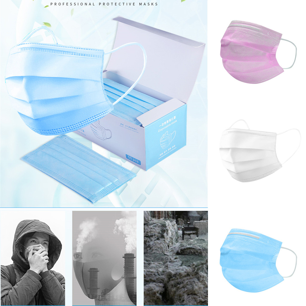 50pcs Disposable Face Mask Non-woven 3 Layer Ply Filter Mouth Face Masker Breathable Anti-Dust Adult Protective Mouth Maskes