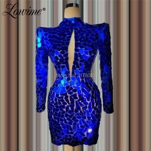 Image 2 - Breve Caftani Royal Blue Abito Da Sera Elegante Guaina In Rilievo Robe De Soiree Aibye Vestito Da Promenade Medio Oriente Dubai Abiti Del Partito 2020