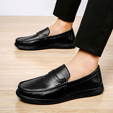 Leather Men Casual Shoes Luxury Brand Mens Loafers Moccasins outdoor Breathable Slip on Black Driving Shoes Fashion big size 48(China)