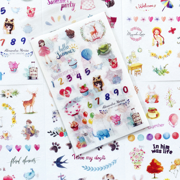6 Sheets/Pack Cute Dreamland Paper Sticker Adhesive Craft Stick Label Notebook Computer Phone DIY Decor Stationery Kids Gift - discount item  20% OFF Stationery Sticker