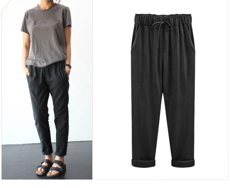 2019 Summer Large Size Cotton Pants Female Capri Pants Plus-sized 200 Of Fat Mm Loose Thin Flax