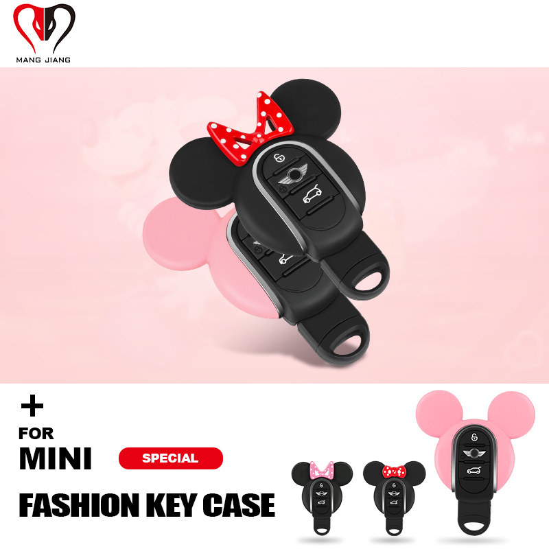 for Mini Cooper F54 F55 F56 F57 F60 Clubman Countryman One S JCW New Mouse Ear Bow-knot Cute Car Key Case Protector Accessories